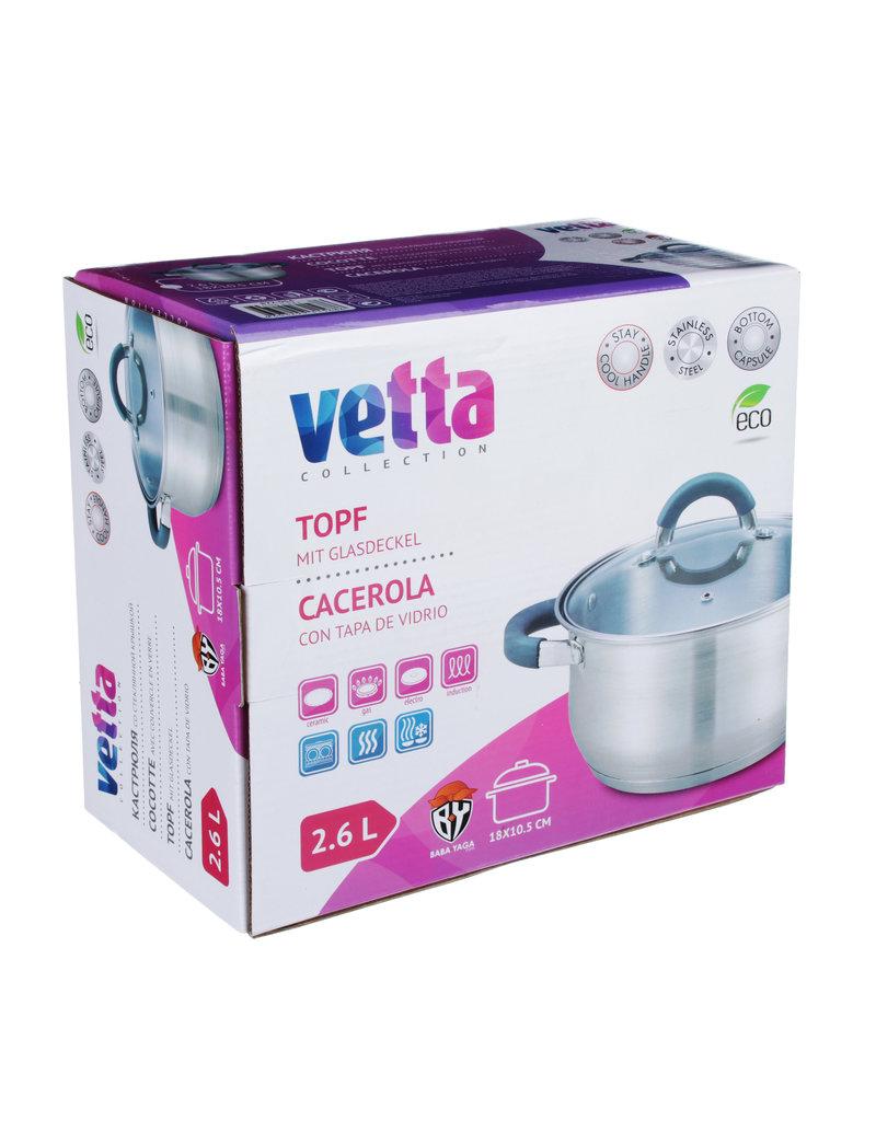 Vetta Vetta - Kookpan 2,6L met siliconen handgrepen en glazen deksel - Ø18cmx10,5cm - cocotte voor alle warmtebronnen