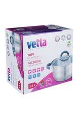 Vetta Vetta - Kookpan 3,6L met siliconen handgrepen en glazen deksel - Ø20cmx11,5cm - cocotte voor alle warmtebronnen