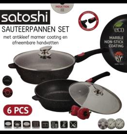 Satoshi Satoshi - 6-delige hapjespan /  sauteuse set - afneembaar handvat - inductie - sauteerpannen