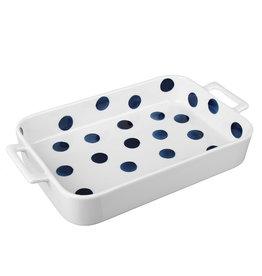 Millimi Millimi - Rechthoekige ovenschaal met handvatten  -Zwart wit gestipt -  31 x 17,5 x5cm 1300 ml