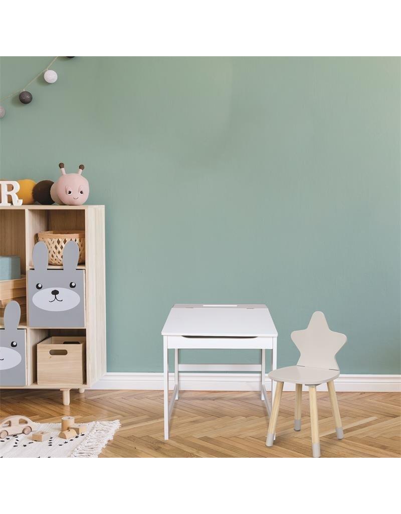 Home deco kids kinderbureau - wit - klaplade - 45x52x47,5 cm