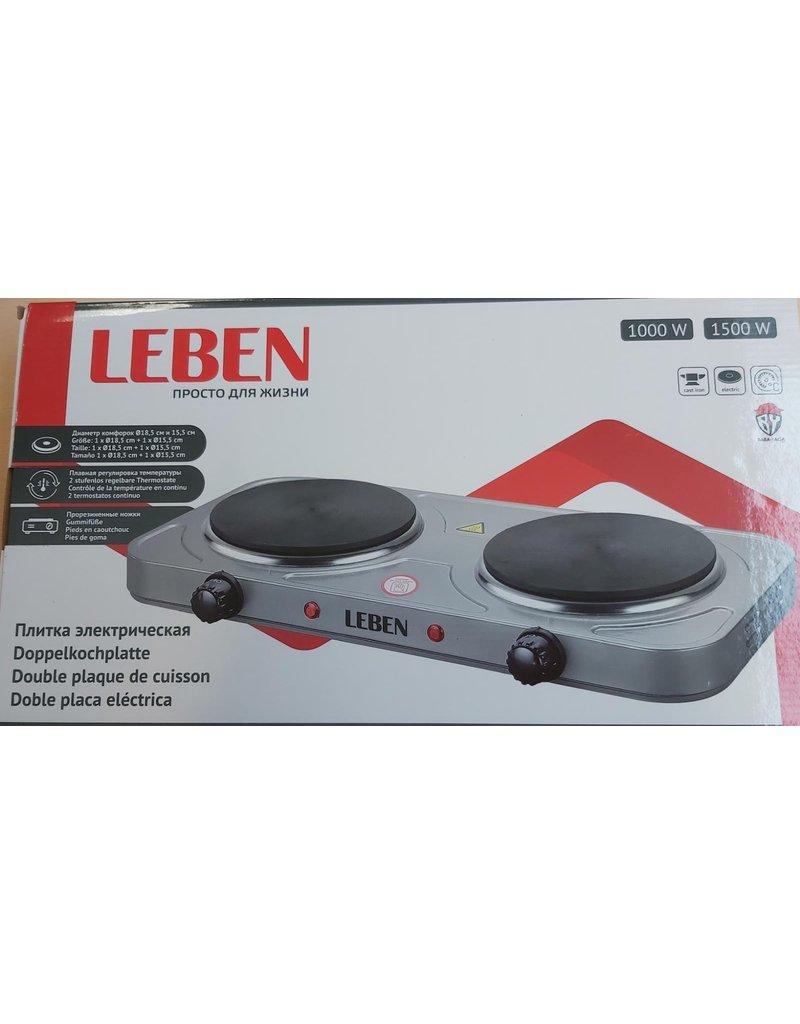 Leben Leben dubbele kookplaat - grijs - 1500 watt