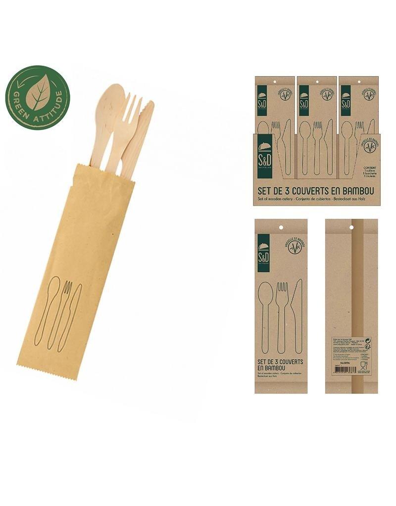 Cook Concept bamboe bestek set - 4 stuks - biologisch afbreekbaar