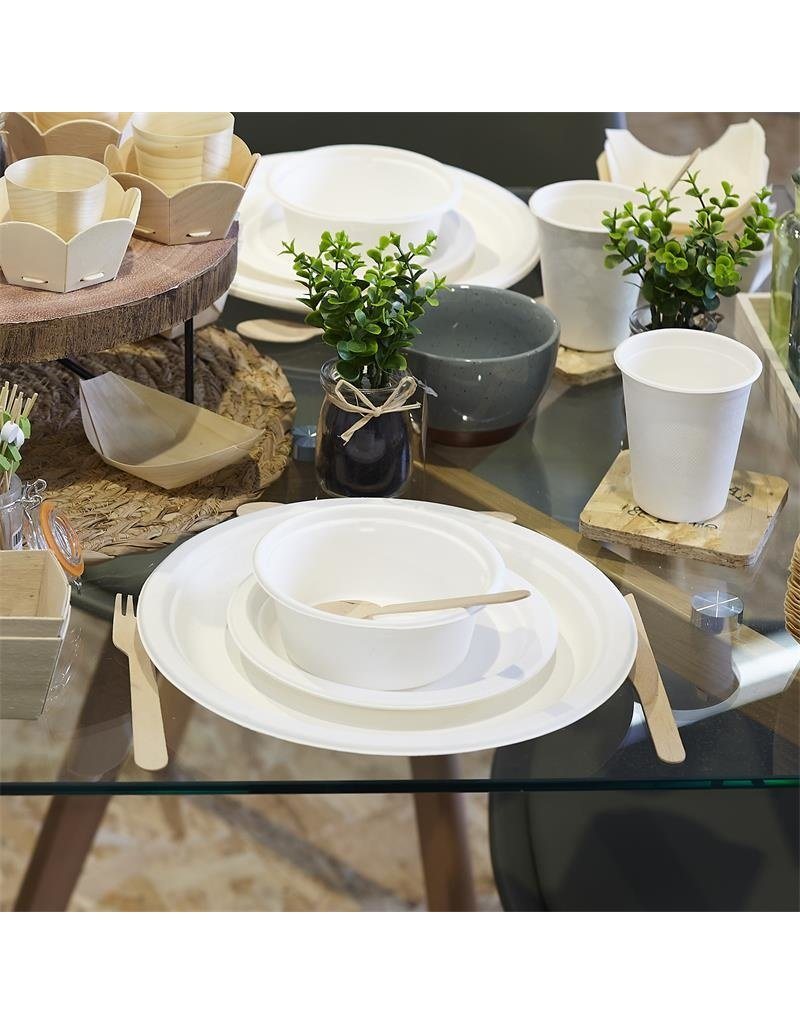 Cook Concept 10 disposable bordjes 17 cm - suikerriet - biologisch afbreekbaar