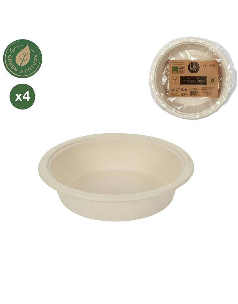 Cook Concept 4 disposable schalen 23 cm - suikerriet - biologisch afbreekbaar