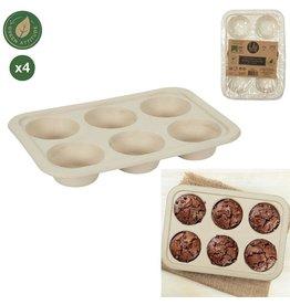 6 muffinbakvormen van suikerriet