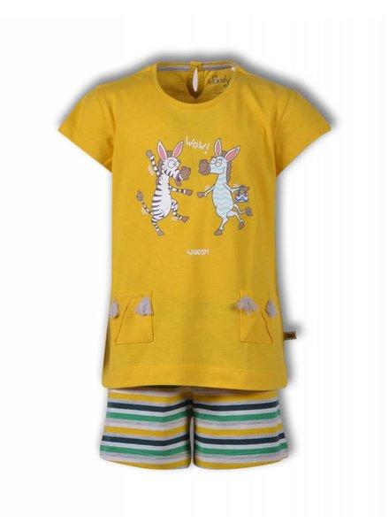 Woody Meisjes-dames pyjama geel, zebra