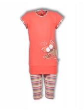 Woody Meisjes-dames pyjama, hot coral stokstaart
