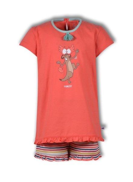 Woody Meisjes pyjama, hot coral stokstaart