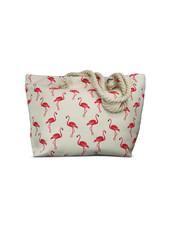 Miracles Beach bag flamingo golven wit en roze