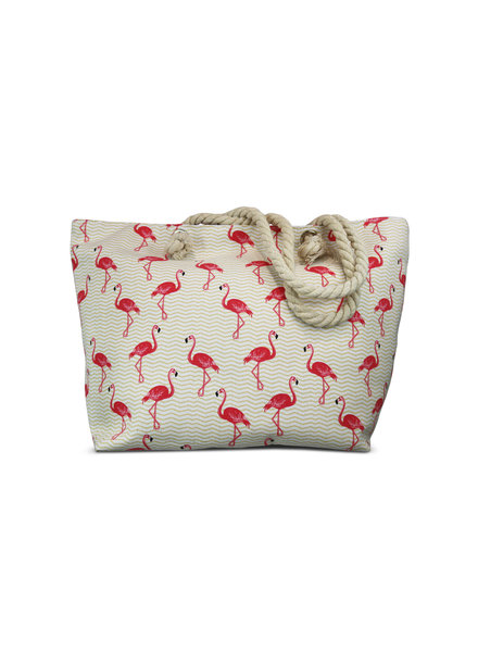 Miracles Beach bag flamingo golven wit en roze