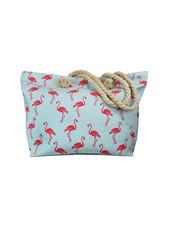 Miracles Beach bag flamingo golven wit en blauw