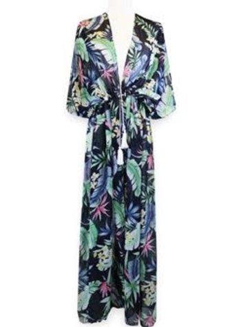 Miracles Long beach dress hawai blue green
