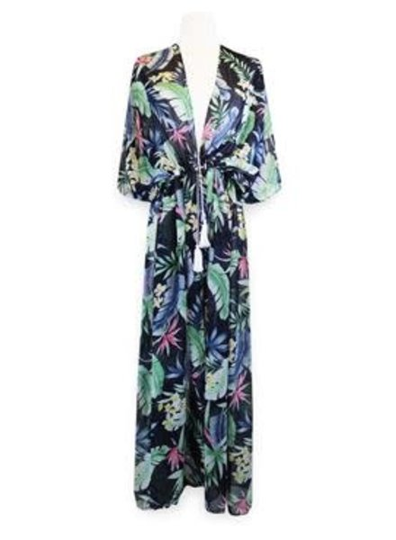 Miracles Long beach dress hawai blue green
