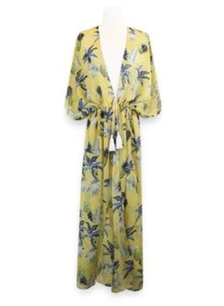 Miracles Long beach dress hawai yellow