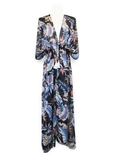 Miracles Long beach dress hawai blue grey