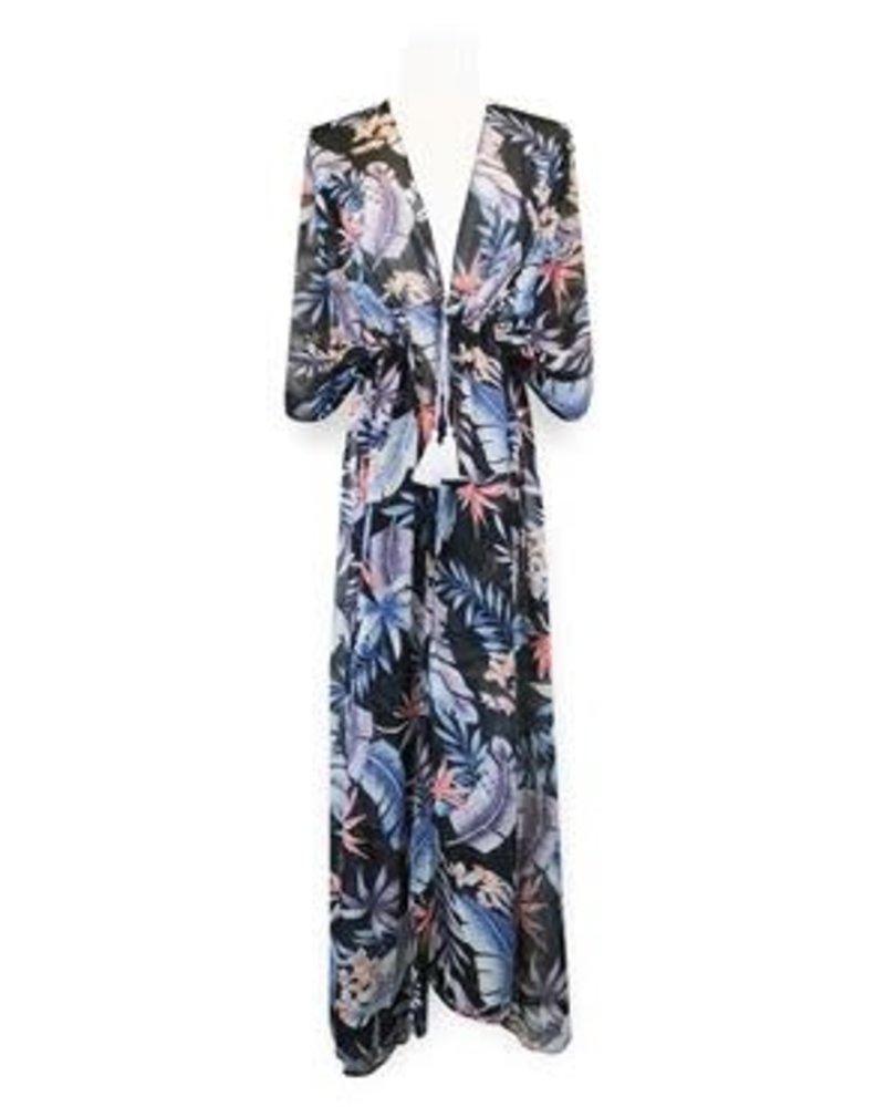 Miracles Long beach dress hawai blue grey