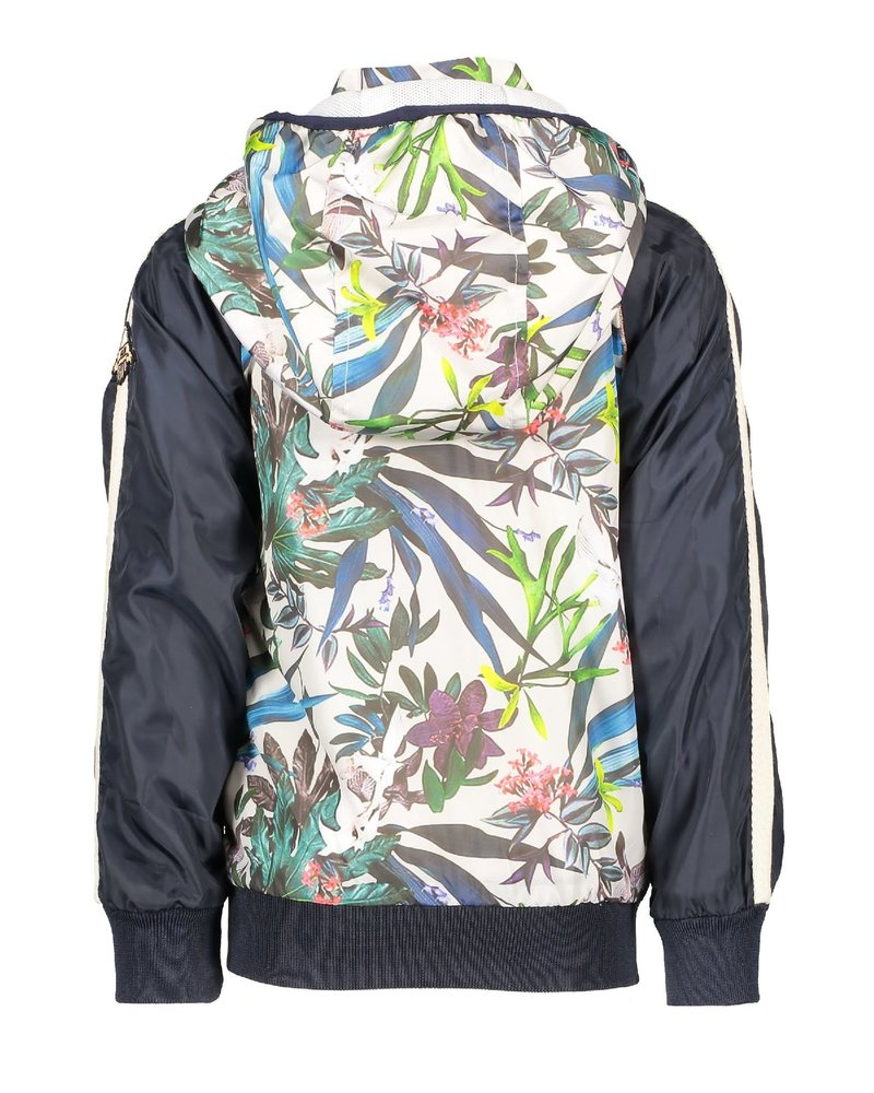 NoNo Bizz hooded short jacket with tropical flowers