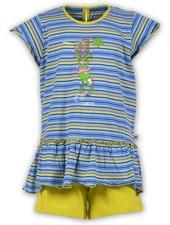 Woody Meisjes-Dames pyjama, blauw-geel gestreept
