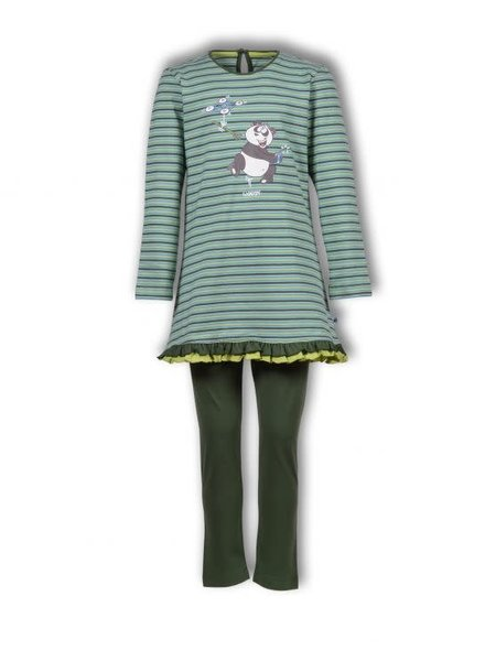 Woody Girls-Women pyjamas, green-turquoise striped