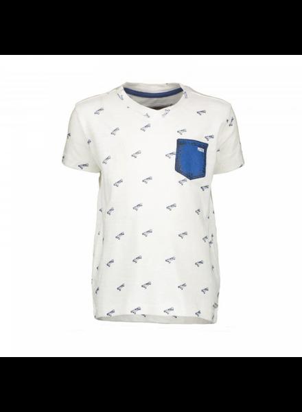 tshirt wit / blauw met zakje
