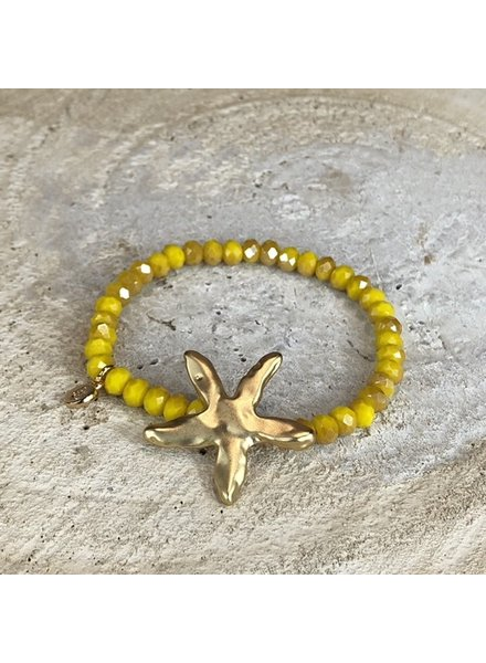 Miracles Bracelet yellow stones and matt gold big sea star