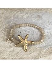 Miracles Bracelet light gold stones and matt gold big sea star