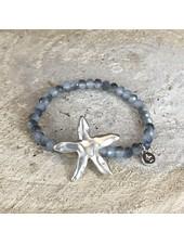 Miracles Bracelet blue stones and matt silver big sea star