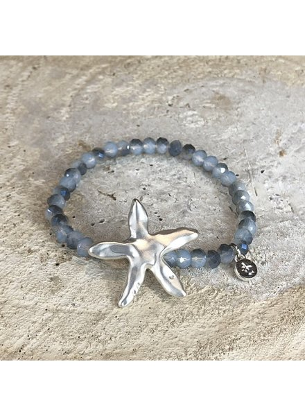 Miracles Bracelet blue stones and matt silver big sea star