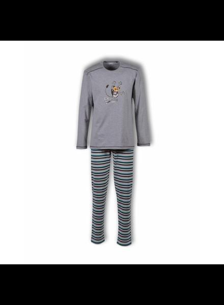 Woody Jongens-Heren pyjama, frost grey melange nachtdier