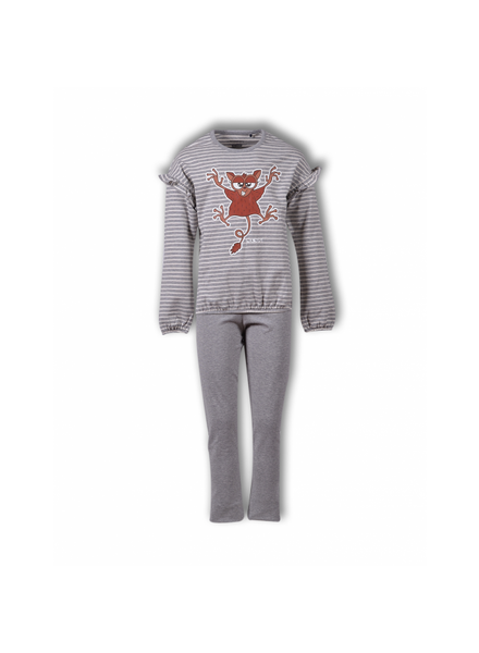 Woody Meisjes-Dames pyjama, Z stripe tarsier gestreept nachtdier