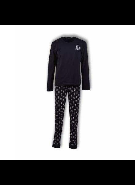 Boyzzz woody Jongens-Heren pyjama, anthracite doodskop