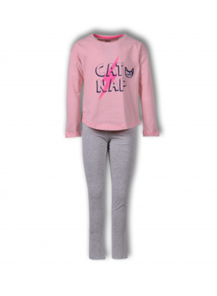 Girlzzz by Woody Meisjes-Dames pyjama, coral blush