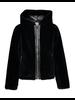 Geisha Short fur jacket zipper closure