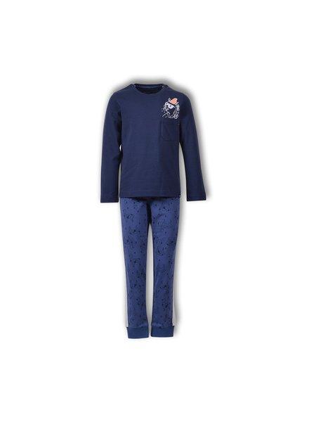 Woody Jongens-Heren pyjama donkerblauw alpaca