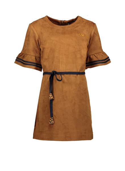 NoNo Meta suede A line dress with ruffle sleeve