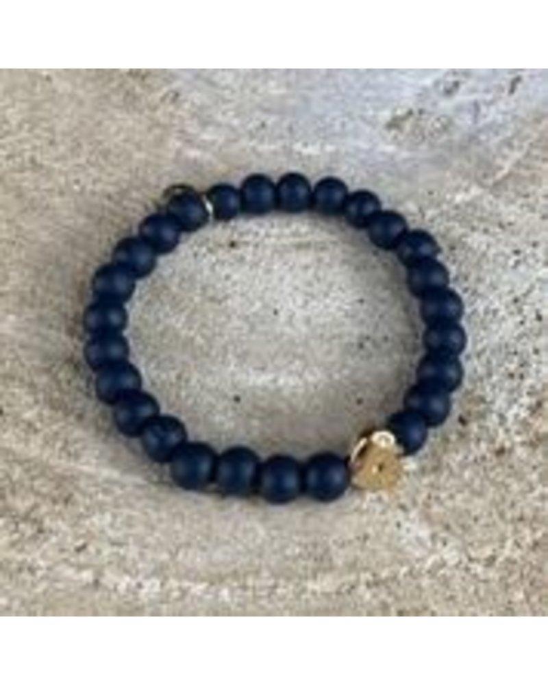 Bracelet Louise blue medium stones w/ gold heart