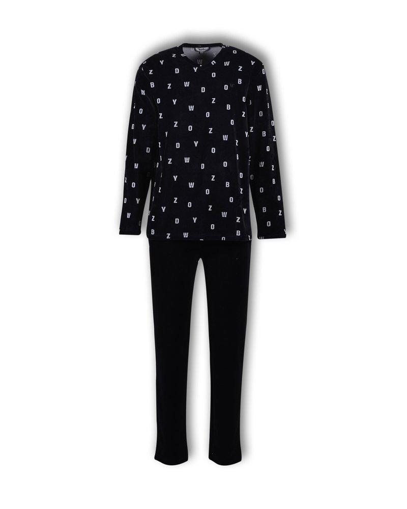 Woody Jongens-Heren pyjama, fluwelen witte letters op zwart all-over print