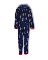 Woody Onesie thema alpaca, donkerblauw all-over print fluweel