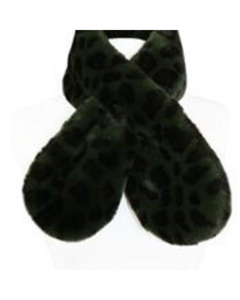 Miracles Faux fur scarf Atlanta animal print khaki
