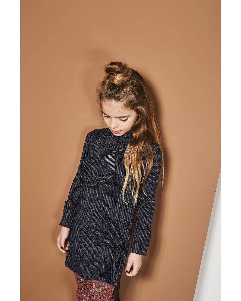 NoNo Milan dress ls with ruffle detail at front and flared cuffs
