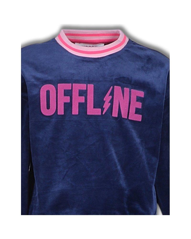 Woody Meisjes dames sweater en broek, donkerblauw fluweel offline