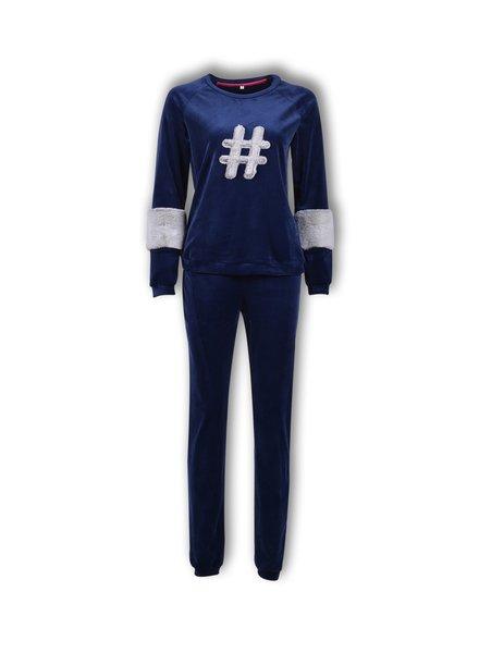 Woody Meisjes-dames sweater en broek, donkerblauw fluweel hasttaq