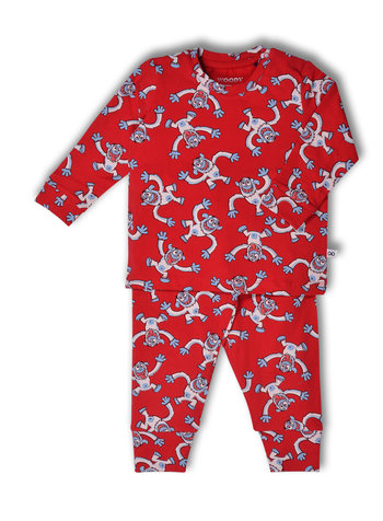 Woody Unisex pyjama, rood all-over print yeti