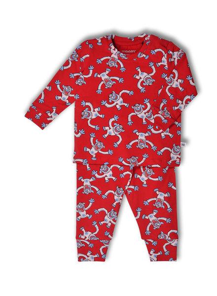 Woody Unisex pyjama, rood all-over print yeti