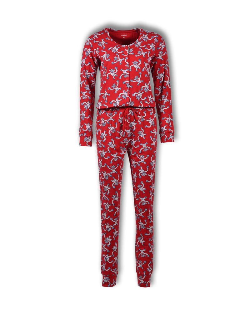 Woody Unisex onesie rood all-over print yeti