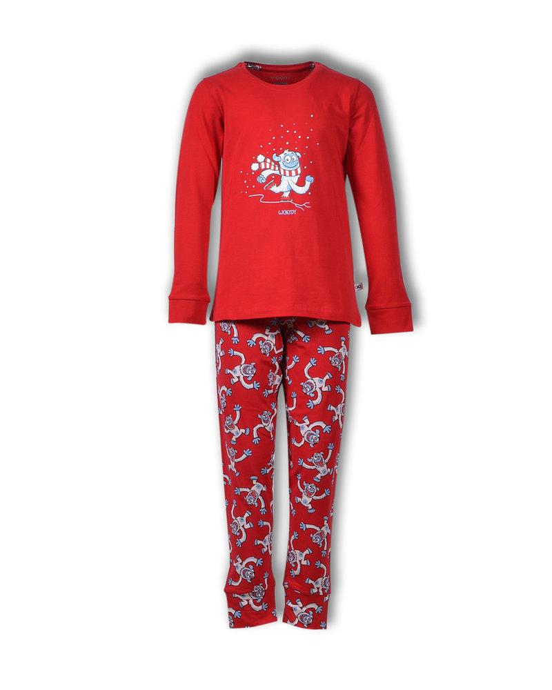 Woody Meisjes-dames pyjama yeti rood