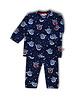 Woody Unisex pyjama fluwel alal over print blauw yeti