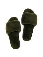 Miracles Fur sliders kaki 37/38