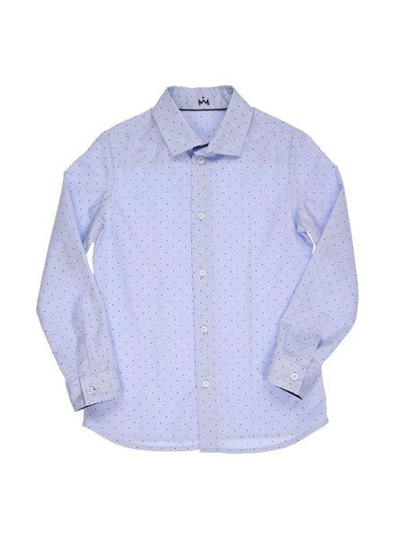 gymp Blauw hemd met blauwe punten